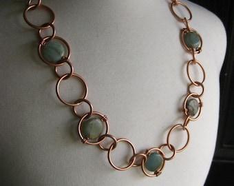 Copper and Adventurine stone bead chain