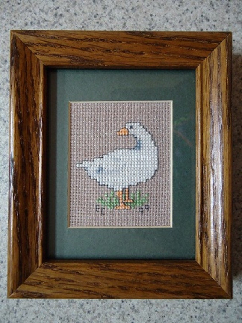 Wall Decor Cross Stitch : Country goose cross stitch picture wall decor