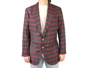 Mens Vintage Blazer 40R 80s Ralph Lauren Red Green Blue Plaid Sports Coat Jacket Free US Shipping