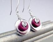 Silver DIsc Earrings, Sterling Spirals, Red Earrings, Mykonos Beads, Red Jewelry, Mykonos Jewelry