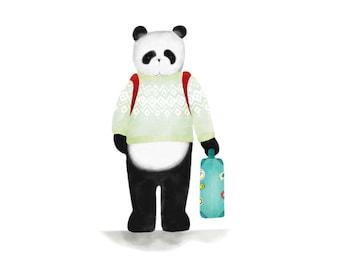 Panda Art Print, Panda Wall Art, Nursery Decor, Panda Bear Illustration, Baby Gift, Prints of Pandas, Kids room, Nursery Print, Home Decor