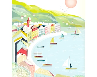 South of France Paper Print, Cote D'Azur Riviera Travel Poster, French Print Beach Travel Vacation Wall Art, Beach, Harbour, St Tropez.