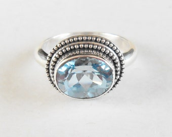 Silver sterling blue Topaz Ring /  size 8 - ready to dispatch  /  silver  925 / Bali handmade jewelry / (#99Km)