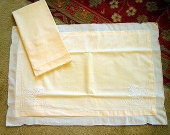 Vintage Antique PILLOW Case Sham Set 2 Yellow Linen Madeira White Embroidered Mums