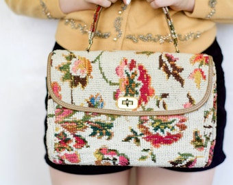 Vintage 50s Sweet Floral Carpet Handbag - Retro 1950s Carpet Embroidered Floral Large boho Purse