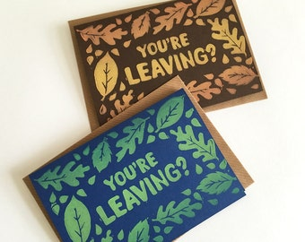 Linocut Funny Leaving Card, Good Luck Card, Hand Printed Card, Bon Voyage Card, Pun card, Autumn Leaves, Spring Leaves