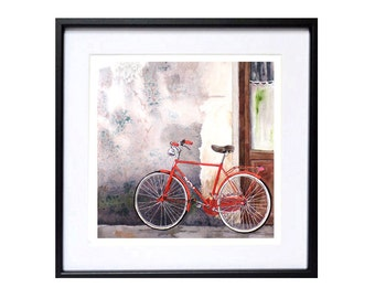 Watercolor Bike art Watercolor Print Italy urban art cityscape old doors Red bike Travel artwork road trip cycling wall art Florence Italy