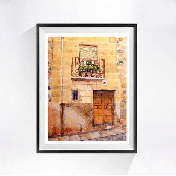 Spanish Front Door Art - Original watercolor fine art painting Old Spain European landscape Travel art Old front door art yellow - 10x13 IN
