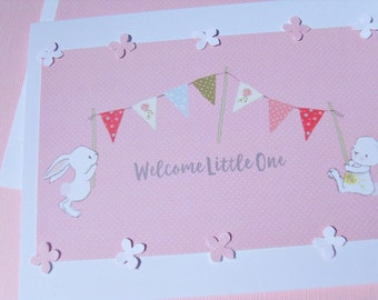 Baby Shower Cards - Welcome Baby Cards - Welcome Baby Girl Cards - New Baby Cards - Bunny Cards - Banner Cards - bbc3