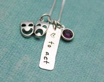 Theater Actor Sterling Silver Personalized Hand Stamped Necklace-