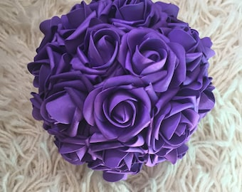 Purple Plum Kissing Ball Rose Pomander Tall Centerpiece Weddings Choose size