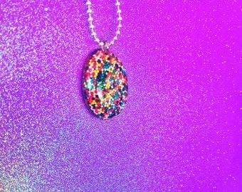 Rainbow Sprinkle Pendant Necklace (REAL Sprinkles)
