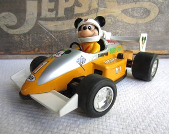 Vintage 1988 Mickey Mouse Pull Back Indy Race Car Japan Walt Disney