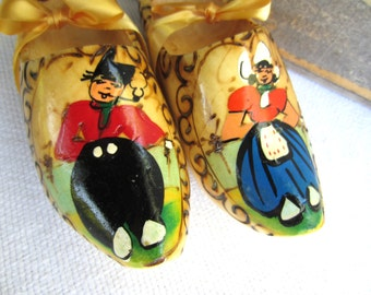 Vintage Wooden Dutch Clogs Shoes Holland Souvenir