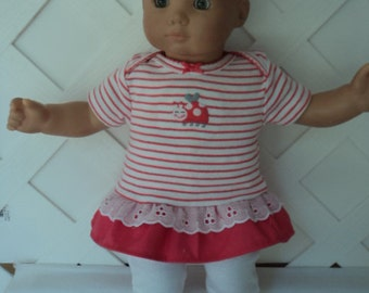 Doll Clothes,  Bitty Baby Girl   3 pc Lady Bug Pants outfit  with headband and Leggings