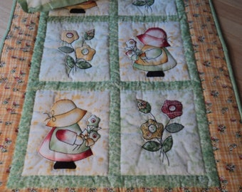 Handmade Sun Bonnet Sue  Doll Quilt and pillow for your doll bed