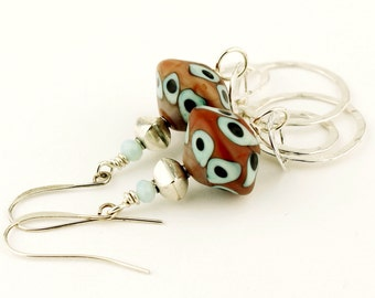 SRAJD Lampwork Earrings Sterling Silver -  Brown Turquoise Blue Beaded Jewelry 'Mesa Summer'
