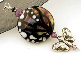 Lampwork Glass Bead Pendant, Sterling Silver Butterfly with Swarovski Crystals