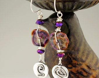 Lampwork Earrings - Sterling Silver- Beaded Jewelry -  Purple Earrings  'Mystified'