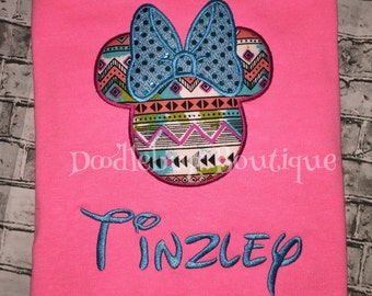 Aztec Minnie Mouse shirt with name