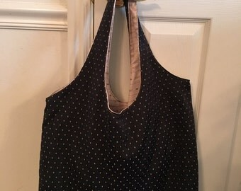 Large Canvas Tote Bag - Black and Gold