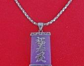 """20% off sale Vintage 17"""" silver tone necklace with 125"""" lavender jade pendant  in great condition, I am assuming this is jade"""