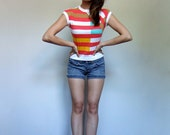 70s Striped T shirt Vintage Crop Top White Tshirt Vintage Top - Extra Small XXS XS