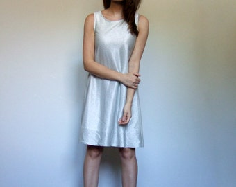 90s Metallic Dress Aline Sleeveless Simple Silver Party Dress 1990s Tank Dress - Small S