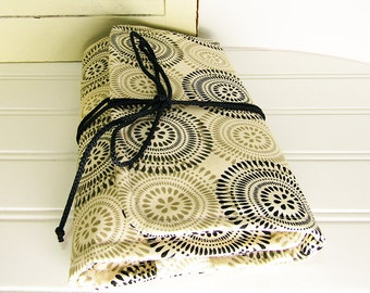 Jewelry Travel case, medallion print jewelry roll organizer, Necklace, earring, ring travel pouch