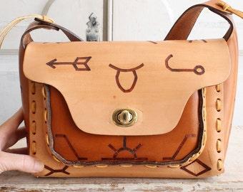 leather native tribal bag natural tan