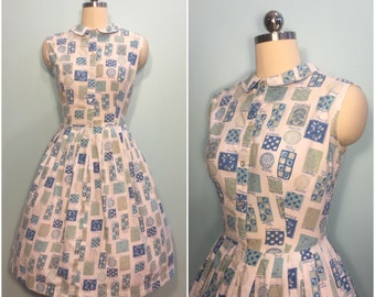 Vintage 1950's Blue & White Novelty Print Cotton Day Dress Size Large