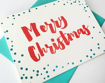 Letterpress Holiday Card - Letterpress Christmas Cards - Christmas Dots