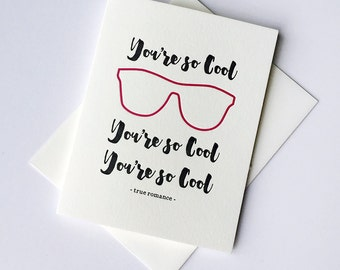 SALE - Letterpress Valentine's Day card - Friendship card - You're So Cool