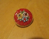 Vintage costume jewelry  / MICRO MOSAIC BROOCH  Italy