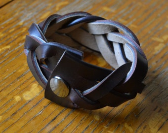 Leather Cuff Bracelet, BROWN Braided with Gunmetal Snap FREE SHIPPING (G2P1112)