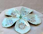 Ceramic Decorative Flower.  Nature Inspired Green Moss Ceramic Flower.  Ceramic Sculpture  Art. Zen Ceramics. Hand Built Pottery.