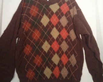 SALE 80s wooly argyle sweater jumper pullover MADE IN Scotland xl xxl Cyrillus brown 46 48 boho grunge