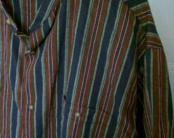 MTO International striped men's shirt XL Nehru collar 1980s vertical stripe