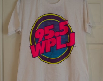 Vintage 1990's WPLJ Radio White Cotton T-Shirt XL