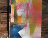 abstract spray hand painted journal, lined pages