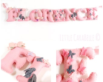 Handmade Personalised Wool Blend Felt Name Banner - Bunny Butterfly theme. Perfect for a Nursery, New Baby, Christening, Bedroom