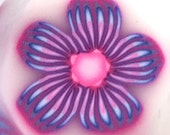 Polymer Clay Cane, Pink, Blue and Purple Flower, Raw, Unbaked Clay