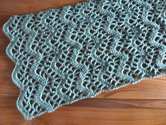 Crochet Patterns Lace Table Runners : Lacy Chevron Table Runner PDF Crochet Pattern Instant