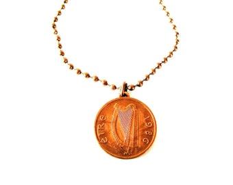 1986 IRISH 1 Penny  Coin Necklace-Irish Necklace
