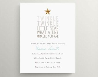 twinkle twinkle little star baby shower invitation set // birthday invitation // gender neutral // glitter // nursery rhyme // gold
