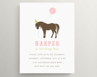 horse birthday invitation set  //  baby shower  //  western  //  cowgirl  //  rodeo // kids birthday // pony // horse party //