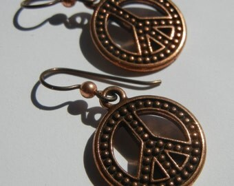 Peace Sign Earrings Niobium Ear Wires Hypoallergenic Antiqued Copper Charm