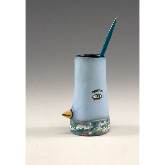 Becky ceramic bird toothpick holder bud vase - Bird toothpick holder ...