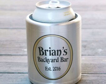 Custom Stainless Steel Beer Can Cooler, Personalized Beer Gift - Insulated Beer Can Hugger for Deck, Patio, Bar & Grill, Pool, BBQ