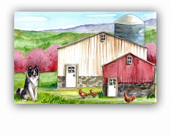 Child's Room Spring Farm Artwork Original Watercolor Painting Dog Chickens Nursery Baby LLMartin